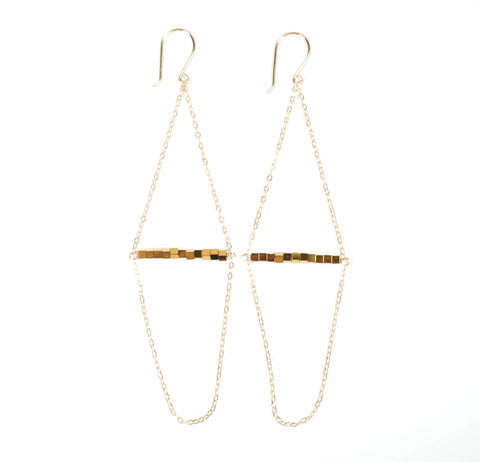 Kite Earring- Gold Hematite