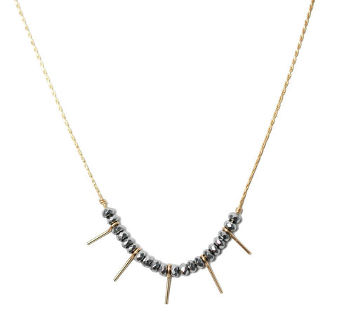 Needle Necklace- Silver Hematite