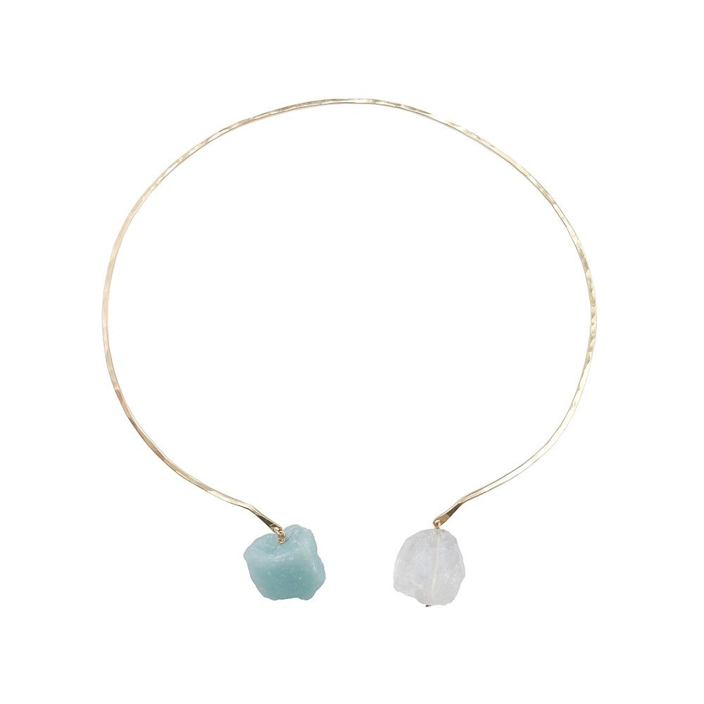 Rivals Collar Necklace- Mint Amazonite & Rock Crystal