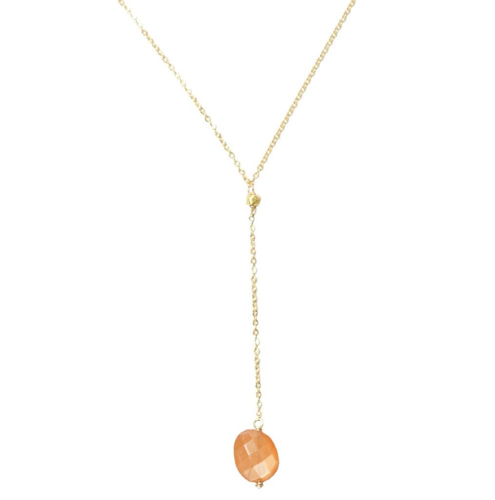 Blush Moonstone- Short Lariat Necklace