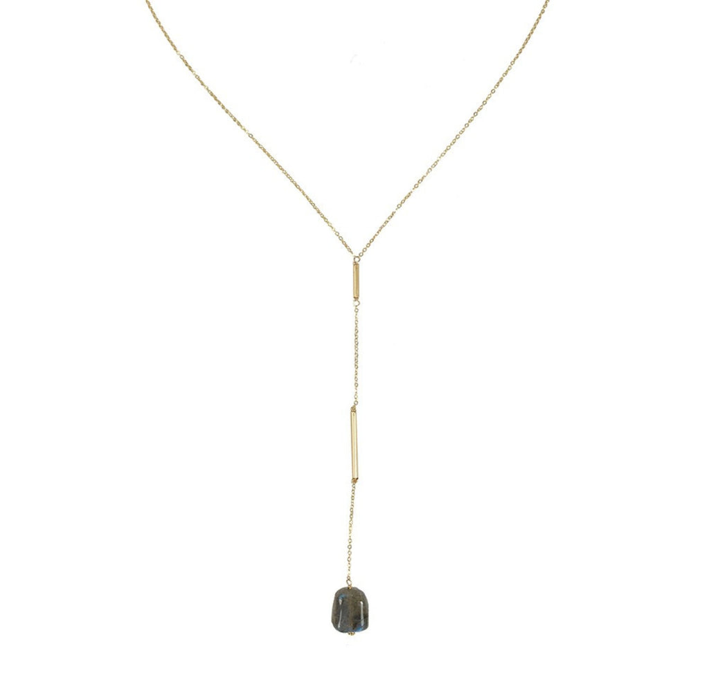 Split Lariat Necklace- Labradorite