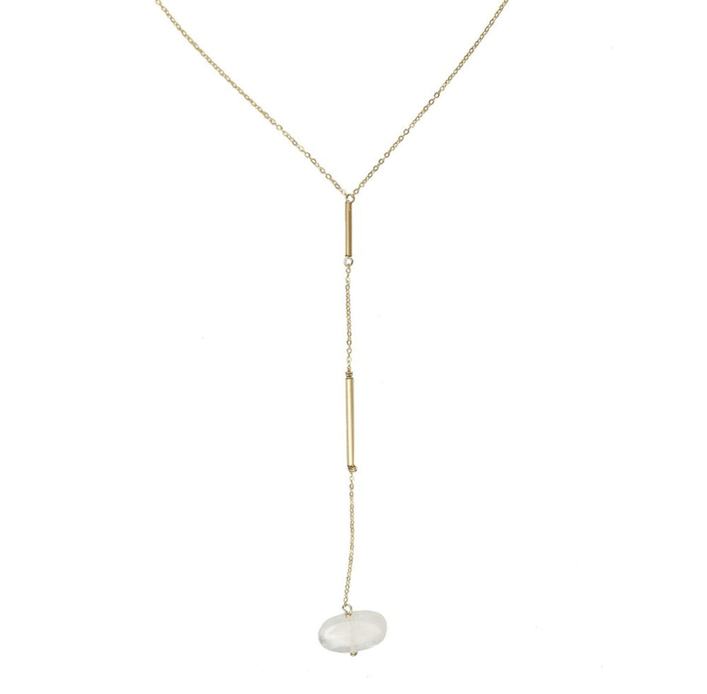 Split Lariat Necklace- Moonstone