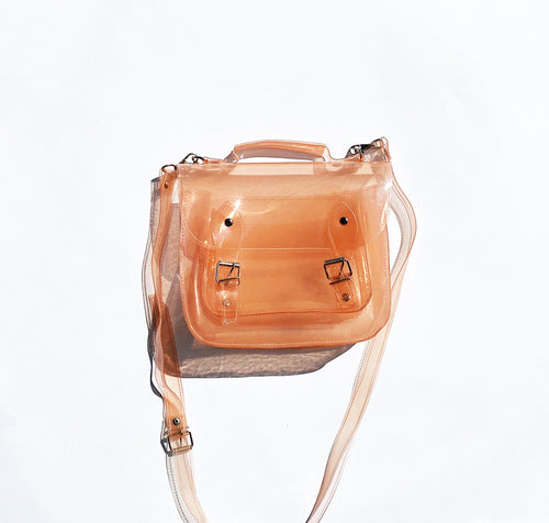 Bag #3 Pink Clear Vinyl Plastic Satchel