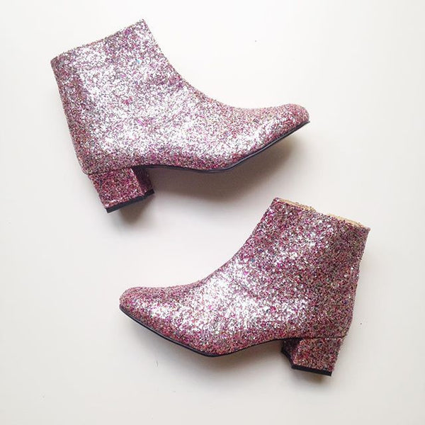 Edie Multicolor Glitter Heeled Ankle Boots