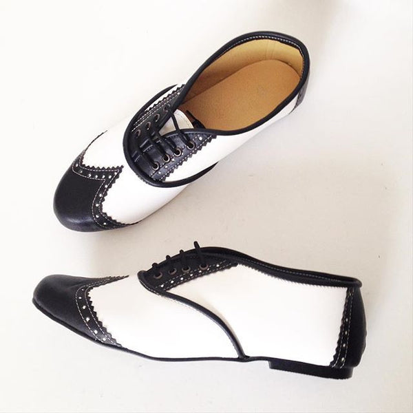 Black and White Pony Brogues