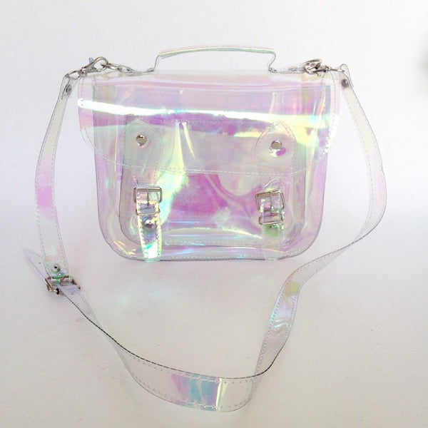 Bag #3 Small Clear Holographic plastic satchel (Ready to ship)
