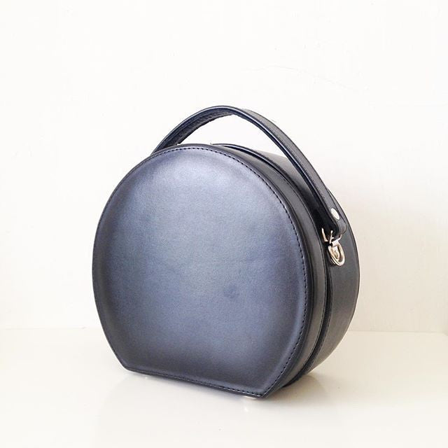 Peggy Circular Faux Leather Crossbody Structured Box Bag