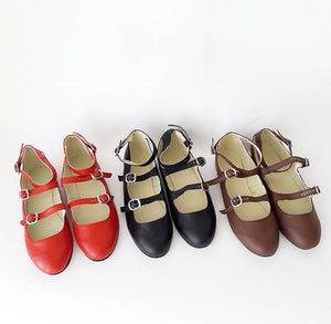 Chloe Triple Strap Leather Flats