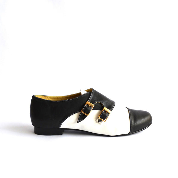 Faux Leather Monk Strap Flats Shoes