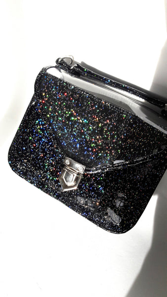 Mady small black multicolor glitter vinyl bag