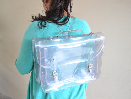 Clear transparent plastic satchel backpack