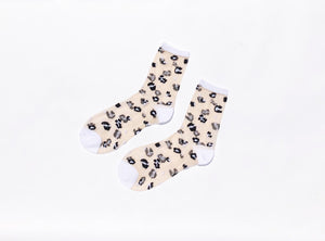 Leopard Sheer Ankle Socks (Various Colors)