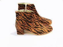 Load image into Gallery viewer, Edie Tiger Suedette Heeled Ankle Boots