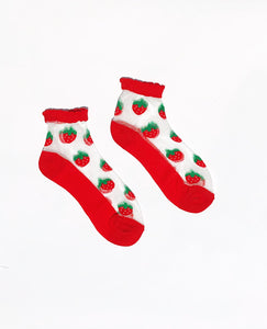 SALE Strawberry Sheer Ankle Socks