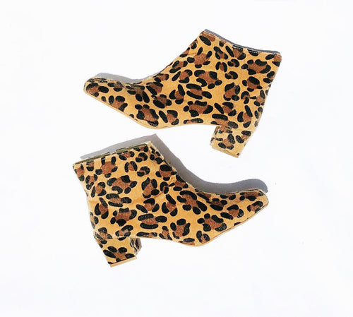 Edie Leopard Faux Fur Heeled Ankle Boots