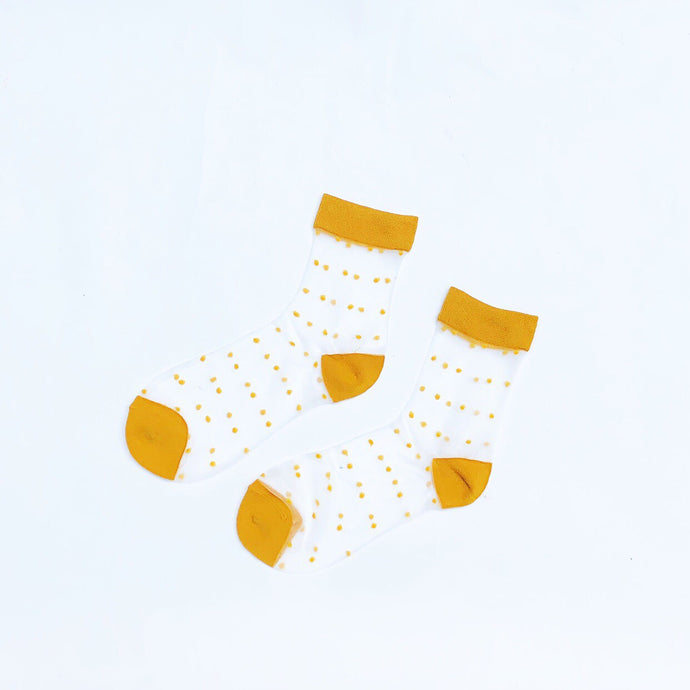 Yellow Sheer Polka Dots Ankle Socks