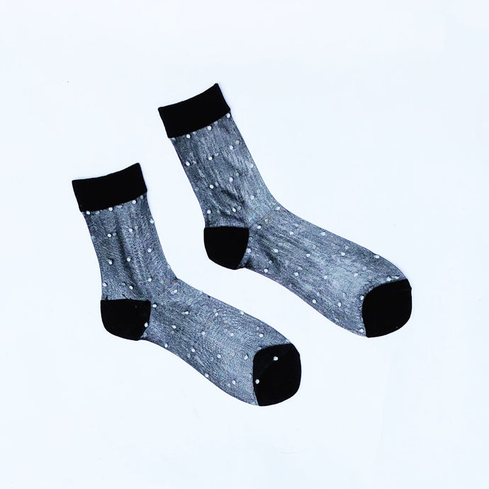 Black Sheer White Dots Ankle Socks