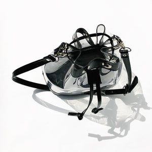 SALE Clear Vinyl Drawstring Bucket bag