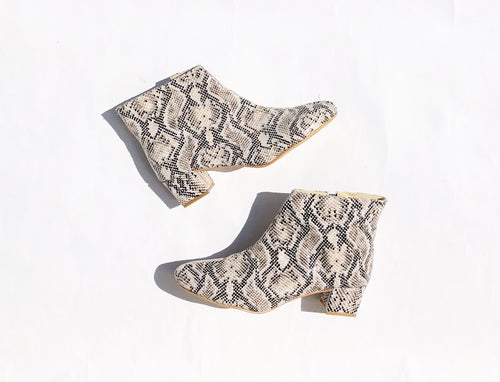 Edie Snakeskin Faux Leather Heeled Ankle Boots