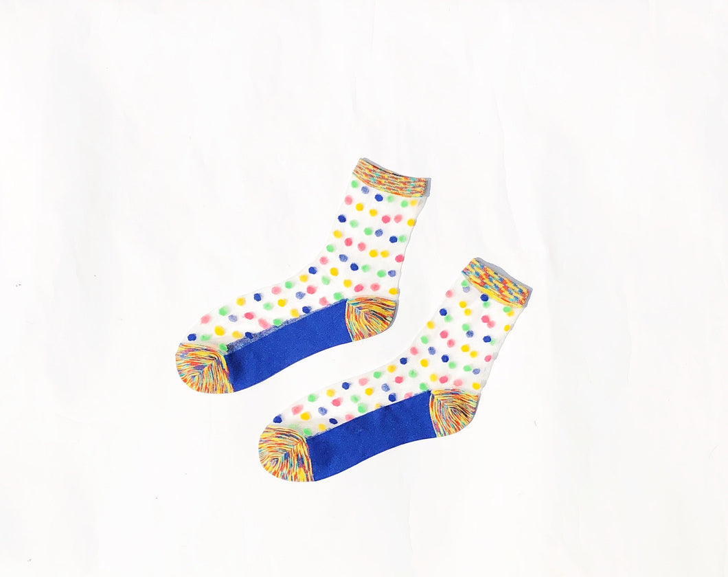 Polka Dots Rainbow Sheer Ankle Socks