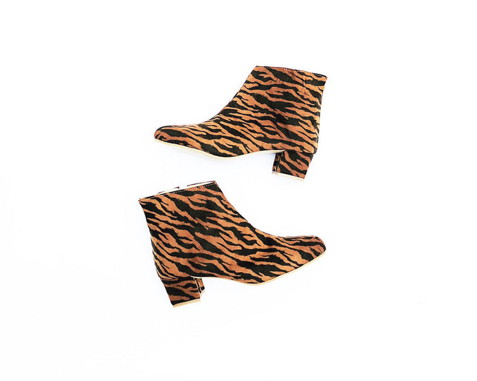 Edie Tiger Suedette Heeled Ankle Boots