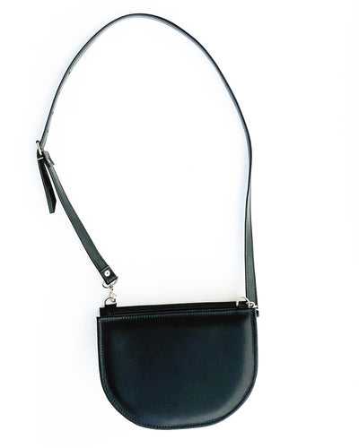 Black Half Moon Vegan Shoulder Bag (Ready to ship)