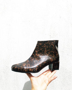 Edie Tortoiseshell Patent Heeled Ankle Boots