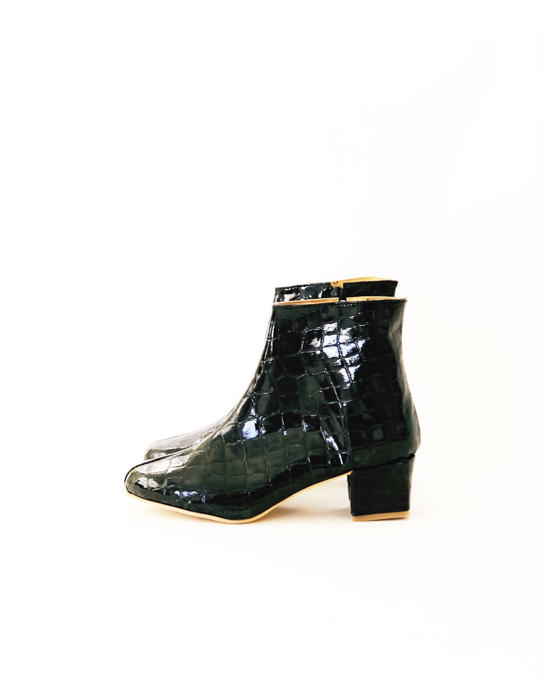 Edie Embosed Croc Faux Leather Heeled Ankle Boots