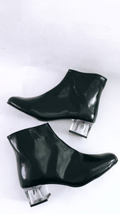 Edie Faux Leather Clear Lucite Heeled Ankle Boots