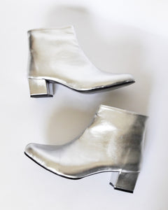 Edie Faux Metallic Leather Heeled Ankle Boots