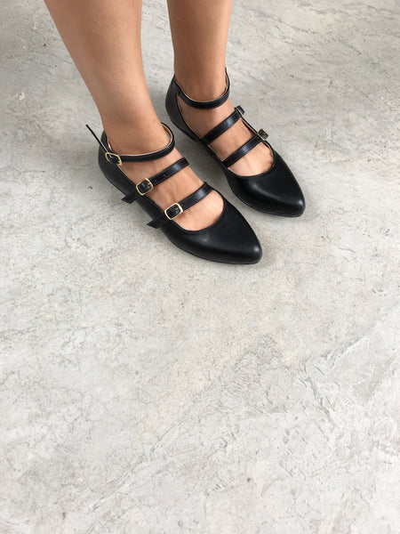 Pointed Triple Strap Ballerina