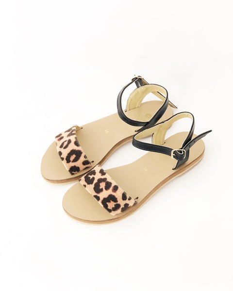 Zoe Black and Leopard Faux Leather Classic Sandals