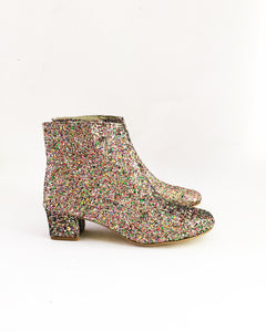 Multicolor Confetti Glitter Heeled Edie Ankle Boots