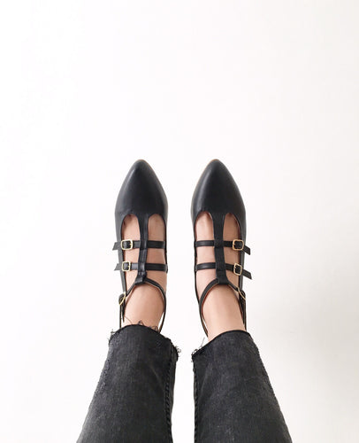 Caged Pointed Vegan Leather Strappy Flats