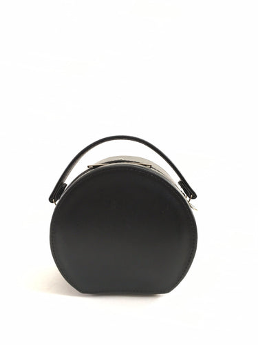 Black Peggy Mini Circular Faux Leather Crossbody Structured Box Bag (Ready to ship)