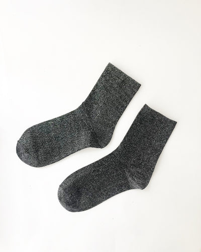 Black Glitter Ankle Socks