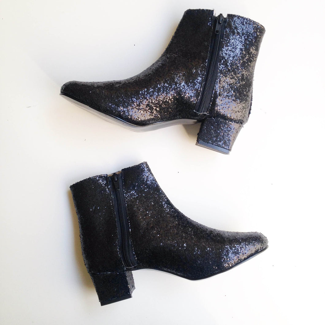 Edie Glitter Heeled Ankle Boots