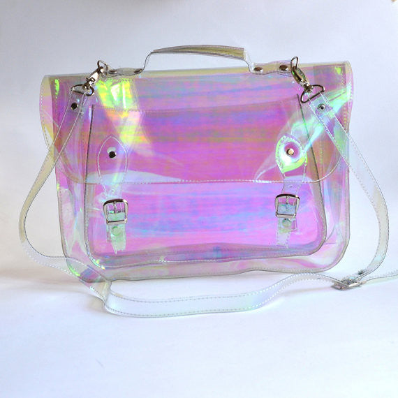 Large bag #3 Holographic Plastic Satchel crossbody strap (Ready to ship)