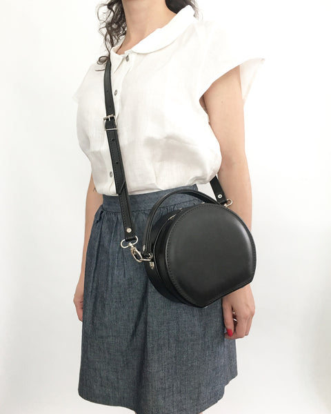 Peggy Mini Circular Faux Leather Crossbody Structured Box Bag