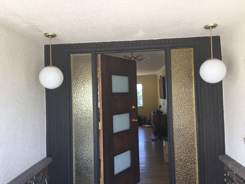 Mid Century Modern Globe Entryway Pendant Lights in Brass by Practical Props
