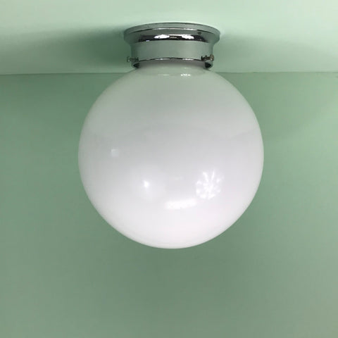 "10"" Opal Glass Flush Mount Globe with Chrome Hardware"