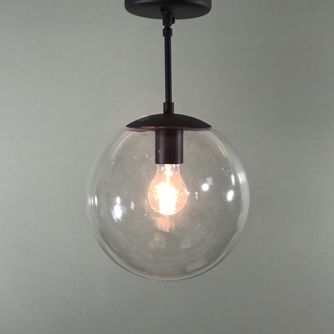 "Mid Century Modern 10"" Clear Glass Globe Pendant in Matte Black"