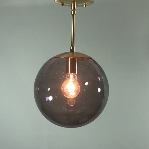 "Retro 10"" Smoked Glass Pendant in Satin Brass"