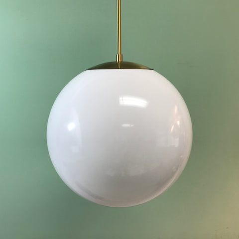 "14"" White Acrylic Globe Pendant Light by Practical Props"