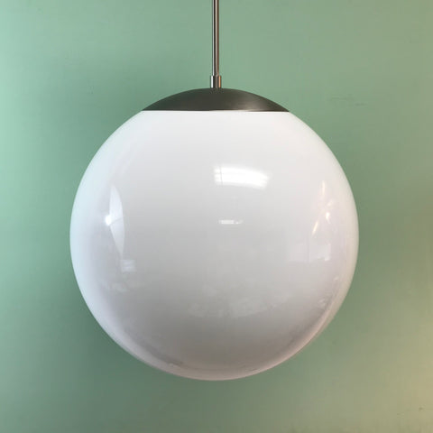"16"" White Acrylic Globe Pendant Light by Practical Props"