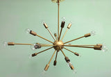 "36"" Midround Sputnik Chandelier Pendant Light Raw Brass"