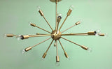 "36"" Midround Sputnik Chandelier Pendant Light Satin Brass"