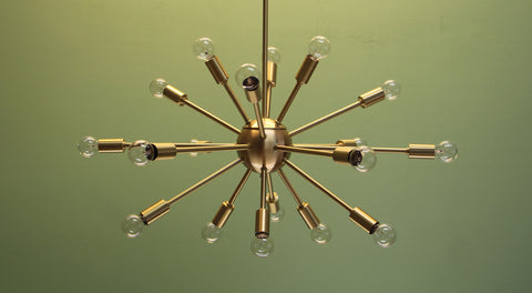 "24"" Midround Sputnik Chandelier Pendant Light Satin Brass"