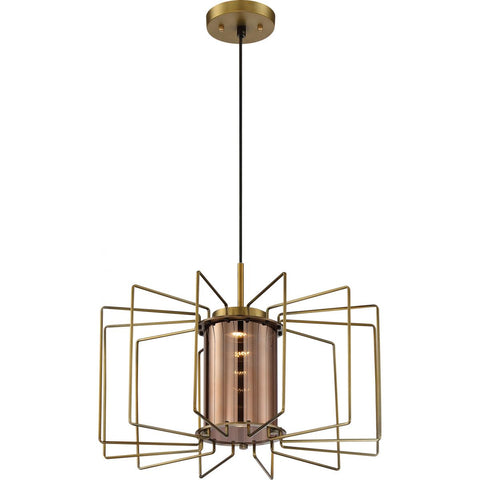 Wired LED Modern Cage Pendant by Nuvo Lighting  - Vintage Brass with Amber Glass
