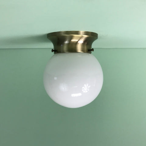 "6"" Mini Opal Glass Globe Flush Mount with Antique Bronze Hardware"